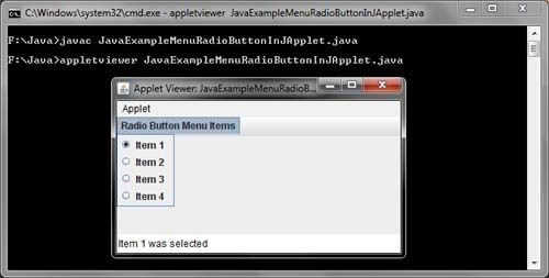 Menu Radio Button Java Example
